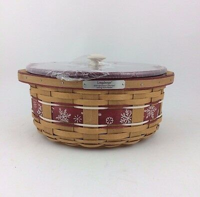Longaberger 2010 Holiday Falling Snow Basket w Lid and Protector Red