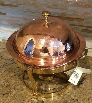 HAKART Handmade HEIRLOOM Quality Hand Hammered SOLID COPPER Chaffing Dish Warmer