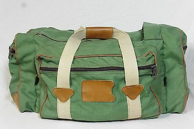 Vintage LL Bean Large Green Canvas Duffle Bag w Leather Trims 21""