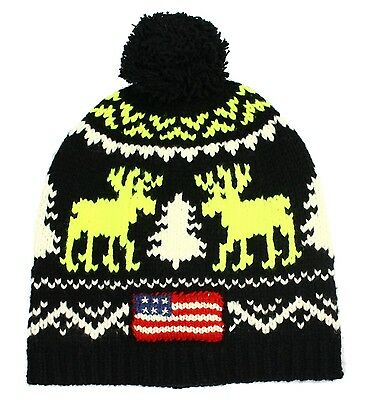 Polo Ralph Lauren NEW Black Mens One-Size Printed Wool Beanie Hat $98 264