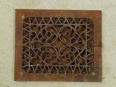 "Antique Victorian Cast Iron Grate Floor Heat Register 9 5/8"" x 11 5/8"""