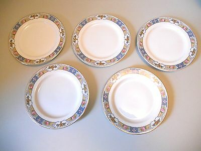 "5 Crown Imperial China ROSARI Dessert Bread Plates 6"" Czechoslovakia Fruit Roses"
