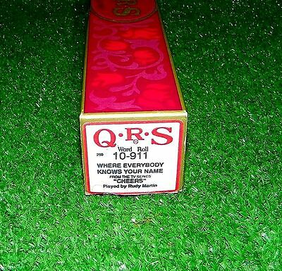Vintage QRS Piano Word Roll Cheers Where Everybody Knows Your Name 10-911 Boston