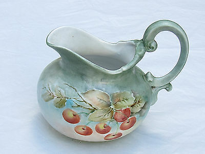 Large Porcelain Hand Painted Cherries Creamer, Signed