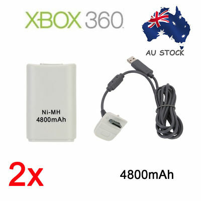 2X White Battery + Charger Cable Pack for XBOX 360 Slim Wireless Game Controller