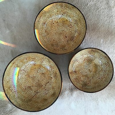 Handmade Vietnamese lacquerware - 3 bowls (brown and white)