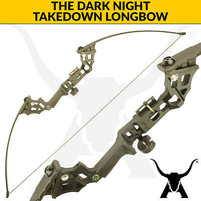 The Dark Night - Black - 30lbs Takedown Longbow for archery and bowfishing