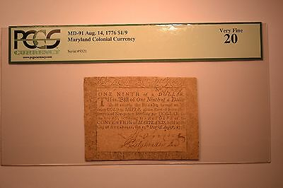 Signed by Richard Tilghman Jr. Maryland August 14, 1776 $1/9 PCGS Very Fine 20.