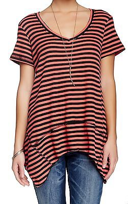 Bobeau NEW Pink Black Womens Size Small S V-Neck Striped Knit Top $48 592 DEAL