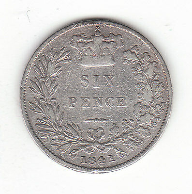 1841 Great Britain Queen Victoria Silver Sixpence. Very Rare.