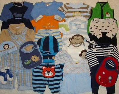 Baby Boy Size 0-3 3-6 Months Fall Winter Mixed Clothes Outfit Lot #65