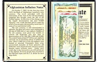 Afghanistan set of 5 Uncirculated Inflation Banknotes& Album Story,Certificate