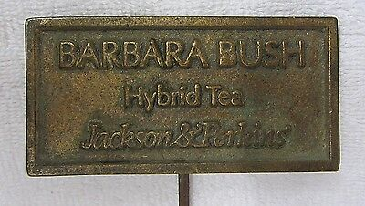 Vtg BARBARA BUSH Hybrid Tea ROSE Garden Decor BRASS SIGN Marker Jackson Perkins