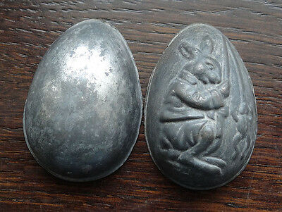 Antique Anton Reiche Chocolate Tin Candy Mold Easter Egg Rabbit Fishing Frog