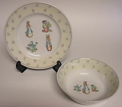 Wedgwood Peter Rabbit Child's Ceramic Bowl and Plate Set Warne,1996, England