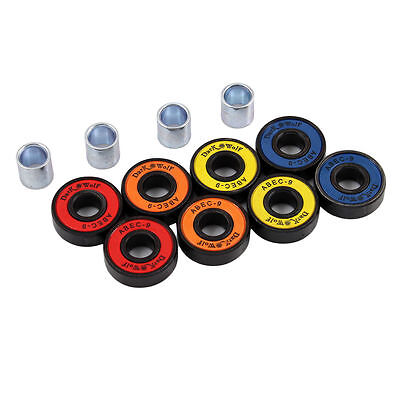 Set of Dark Wolf Skateboard Bearings ABEC Multi Color 8pcs with 4pcs Spacers