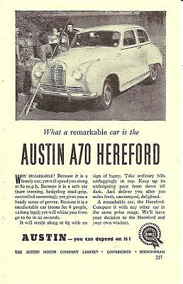 Austin A70 Hereford Saloon Fishing 1953 Vintage Advert