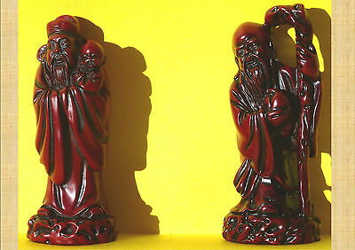 Taoist Fu & Shou Red Resin Statues