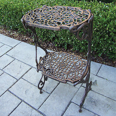 Heavy Duty 2 Tier Cast Iron Plant Stand Table Shelf Patio Deck Porch Indoor