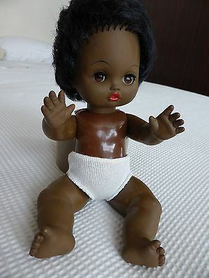 Lovely Old Vintage 1960's Black Jointed Baby Doll VGC