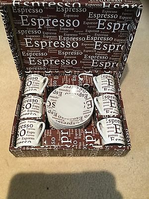 Espresso Coffee Cups and Saucers Set of 6 - White & Brown. Brand New