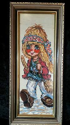 Retro completed framed embroidered 'Hippy girl' needle craft, embroidery
