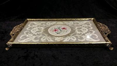 Vintage Petit Point dressing table tray, antique lace, filligree handle, brass