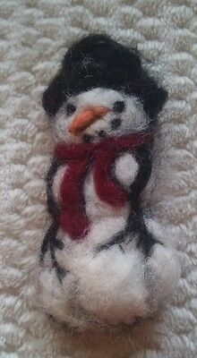Christmas snowman needle felted brooch.