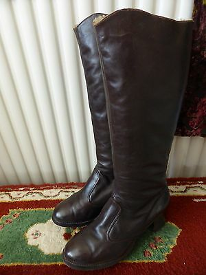 Quality Vintage Sheepskin lined Rich Brown Long leather Boots Size 6 VGC