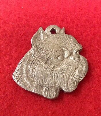 Brussels Griffon 1984 RAWCLIFFE PEWTER  MEDAL KEYRING/ ORNAMENT  NOS,  P. DAVIS