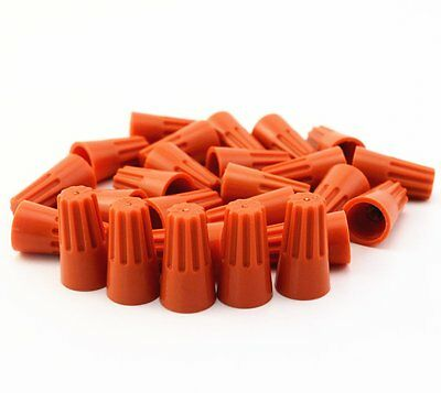 100Pcs Orange P3  Wire Connector Twist-On Terminals Cap Spring 22-14 AWG