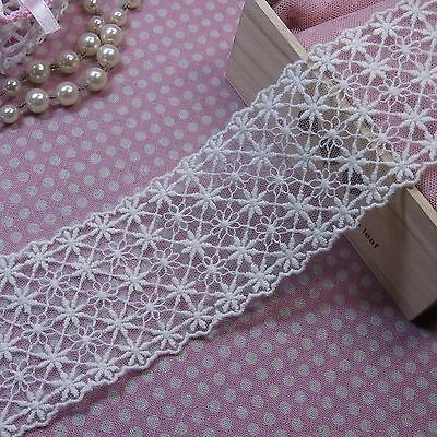"Embroidery Cotton Crochet Tulle Lace Trim 6.5cm(2.6"") Wide Ivory 1Yd"