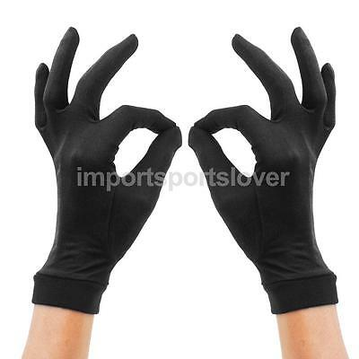 Pair Pure Silk Liner Gloves Thermal Ski Cycling Inner Under Gloves BLACK S