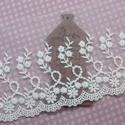 Embroidery Cotton Crochet Tulle Lace Trim 12cm Wide 1Yd