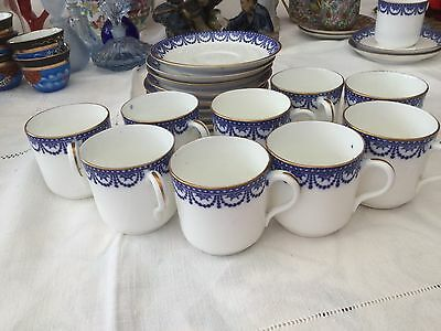 Job Lot of China Coffee Cans & Saucers with Blue Design with Gilded Edging