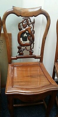 4 x 19th Century Chinese Rosewood  (Marble inlay) chairs