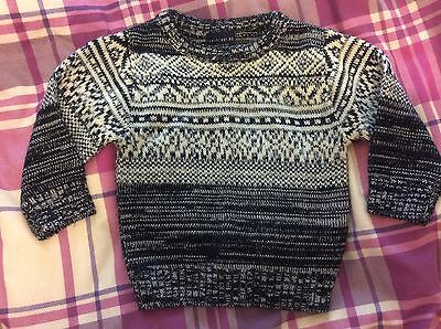 Next baby boys christmas Fine cable knit jumper Size 6-9 Months (hardly Worn)