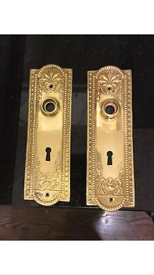 """Pair of beaded, solid brass door backplates with keyhole 7.25"""" x 2.25"""""""