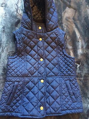 M&S Girls Quilted Navy Gilet Age 7/8 Excellent Condition