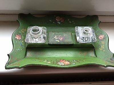 Antique Papier Mache Inkwell  Painted Green /floral