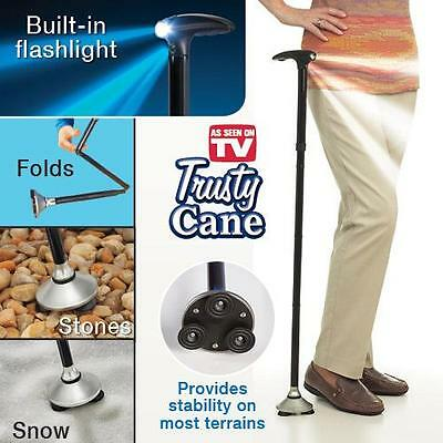 Walking Stick Cane with Light Folding & Adjustable Free Standing  UK SUPPLIER