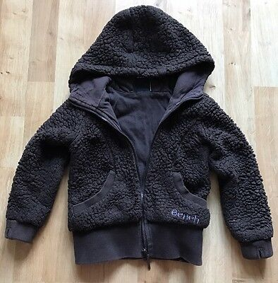Girls Warm Hooded Jacket by Bench. Dark Brown, Age 3-4 Years.Jersey Lined Fleece