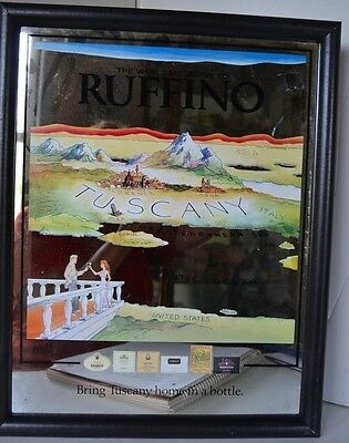 Vintage Ruffino Tuscany Map Mirror Sign Italy Advertising Wall Hanging