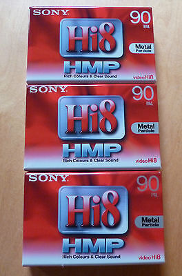 3 x Sony Hi8 HMP 90 PAL Metal Particle Camcorder Tapes P5-90HMP3
