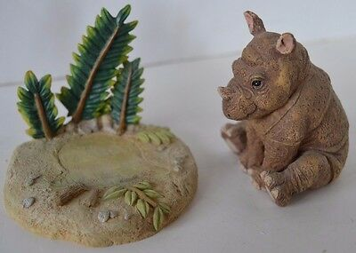 Vintage 1995 Hamilton Collection Rhinoceros Figure Protect Nature's Innocents