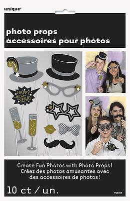 10 Jazzy New Year Photo Props Photo Booth Selfie New years Party Fun