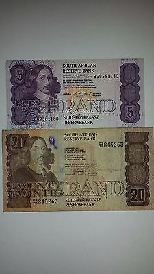 SOUTH AFRICAN Reserve Bank 5 RAND 1990 + 20 Rand