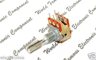1pcs-ALPS 706F 250KB (250K typeB) Dual Step Carbon Potentiometer knurled - JAPAN