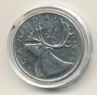 1979 Canadian 25cent Coin Enclosed in Plastic Case