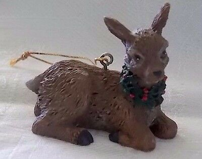 "Adorable ""RESIN DEER/FAWN WITH HOLLY NECKLACE"" Christmas ornament"